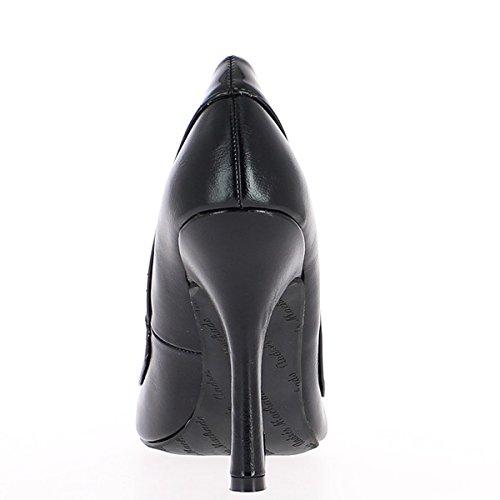Plataforma y tacón bombas grandes cintura hembra negro satinado 12 cm