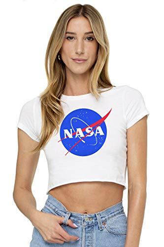 NASA Meatball Logo Juniors Teen Girls Crop Top T Shirt & Stickers (XX-Large) White - Logo Crop