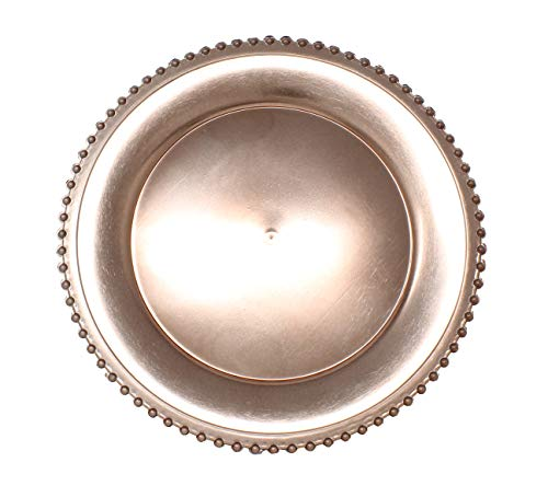 Ms Lovely Metallic Foil Charger Plates with Beaded Rim - Set of 6 - Made of Thick Plastic - Rose Gold
