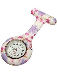 New Flowers Silicone Quartz Movement Nurse Brooch Fob Tunic Pocket Watch
