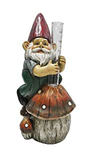 KelKay 4834 Woodland Rain Gauge Gnome Garden Decor Statue