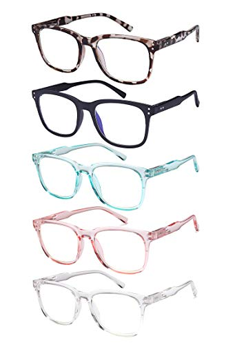 5-Pack Blue Light Blocking Reading Glasses, Computer Readers For Women and Men Lightweight with Spring Hinges