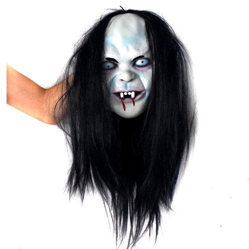 Sun-Mall Halloween Horror Mask Curse Sadako Toothy Zombie Ghost Mask Scary Emulsion Skin with Hair