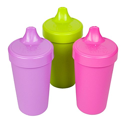 Re-Play Made in The USA 3pk No Spill Sippy Cups for Baby, Toddler, and Child Feeding - Purple, Green, Bright Pink (Butterfly) Durable, Dependable and Toddler Tough