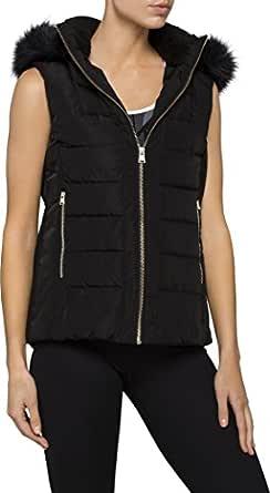 Calvin Klein Women's Faux Fur Trim Hood Puffer Vest, Black, XS
