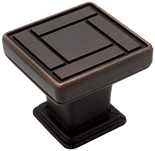 Cabinet Knob 1 1/8 Square - 25 Pack - Cosmas 7155ORB Oil Rubbed Bronze Square Cabinet Hardware Knob - 1-1/8 Inch Square
