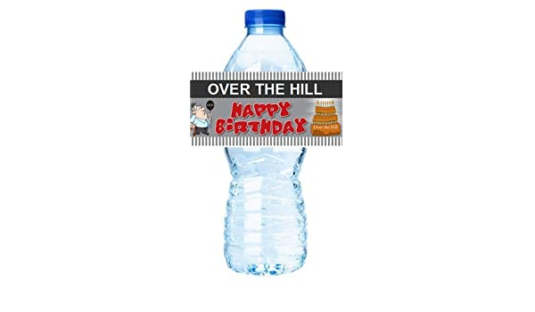 Personalized Birthday Wrapper Decoration 35 WATER BOTTLE LABELS Over the Hill