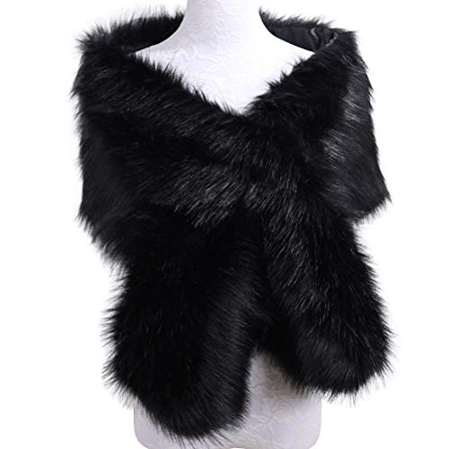 AOFITEE Women's Wedding Shawl Stole Faux Fur Scarf Wrap Cape for Evening Party -