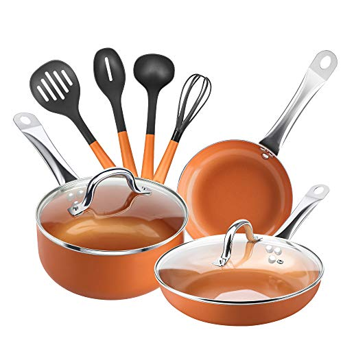 SHINEURI 9 Pieces Copper Cookware Pans and Pots Set - 9.5 Inch Fry Pan with Lid, 8 Inch Omelet and 2.5 Qt Saucepan with Lid & 4 Set Cooking Utensils, Perfect for Stir fry, Grill Roast, Sauce, Soup