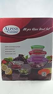 Alpine cuisine 20 piece glass bowl storage set for Alpine cuisine glass bowl set