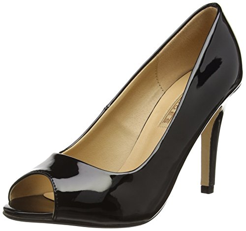 Buffalo Shoes 314669 PATENT PU, Damen Peep-Toe Pumps, Schwarz (BLACK 01), 40 EU