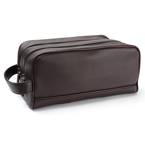 Double Zip Toiletry Bag - Full Grain Leather - Chocolate Brown (brown) by Leatherology