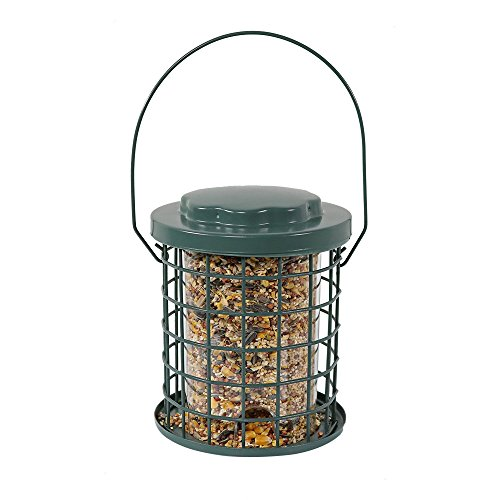 Sunnydaze 7 Inch Squirrel Proof Green Wire Wild Bird Feeder with Inner Plastic Tube