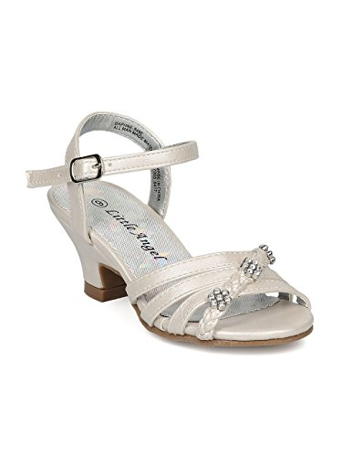 Alrisco Girls Open Toe Rhinestone Flower Ankle Strap Kiddie Heel Sandal HC28 - Ivory Leatherette (Size: Little Kid 13)