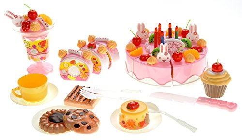 PowerTRC Cutting Birthday Party Fruit Desert Cake Toys Set with Candles, Early Educational Kitchen Toys for Children Toddlers, Boys and Girls - Set Play Food Cake