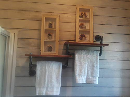WGX Towel Racks for Bathroom,Rustic Kichen Modern Wood 2-Tiers Towel Rack with Shelf Wrought Iron Towel Bar