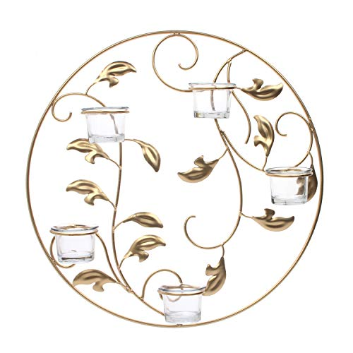 "Hosley 16"" Diameter Gold Leaf Medallion Wall Sconce 5 Tea Light Cups. Ideal Weddings, Special Occasions Wall Decor, Home, Spa, Aromatherapy, Reiki, Candle Garden. P1 from Hosley"