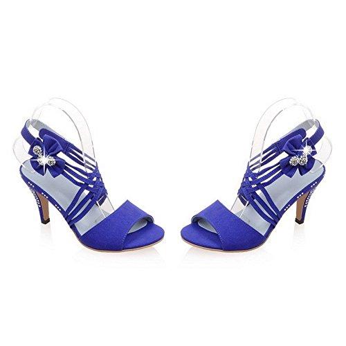 AllhqFashion Mujeres Material Mezclado Sólido Sin cordones Puntera Abierta Tacón de aguja Sandalia Azul