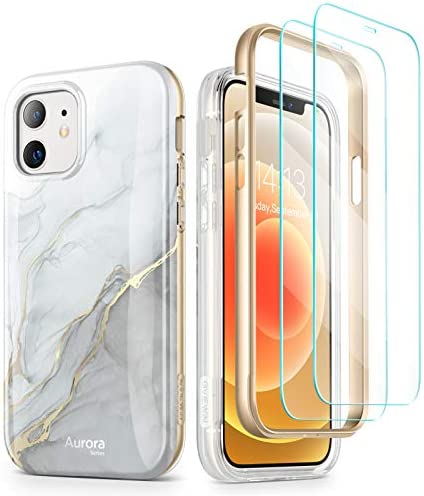 GVIEWIN Aurora Case Compatible with iPhone 12/ Compatible with iPhone 12 Pro 6.1″ (2020), Marble Shockproof Drop Protection Full-Body Cover with [2 Tempered Glass Screen Protectors] (Blanco/Grey)