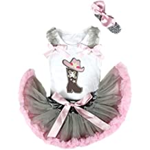 Petitebella Cowgirl Hat Boot White Shirt Grey Pink Baby Skirt Girl Outfit 3-12m