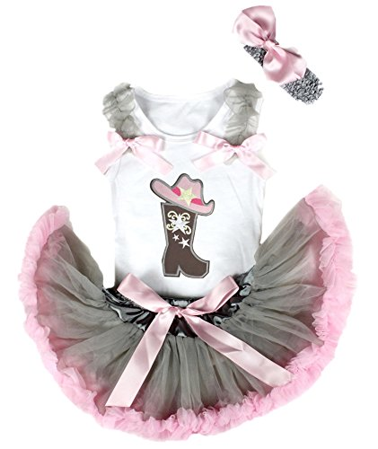 Petitebella Cowgirl Hat Boot White Shirt Grey Pink Baby Skirt Girl Outfit 3-12m ()
