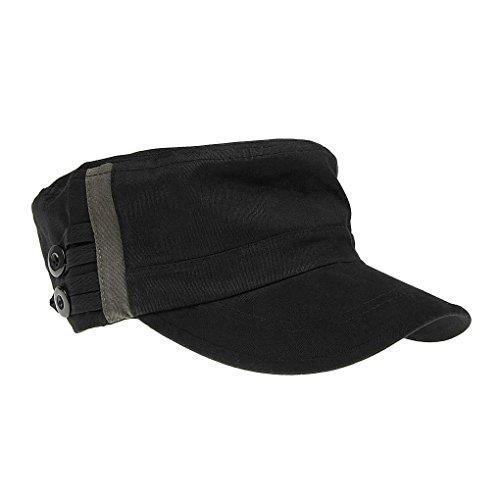 BXT Unisex 100% Cotton Sweat Absorbent Military Baseball Cap Black