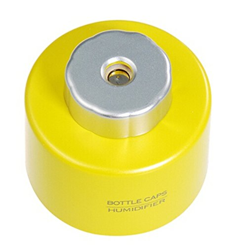 Mini Portable Water Bottle Cap Air Ultrasonic Humidifier with USB Cable for Office Home (yellow)