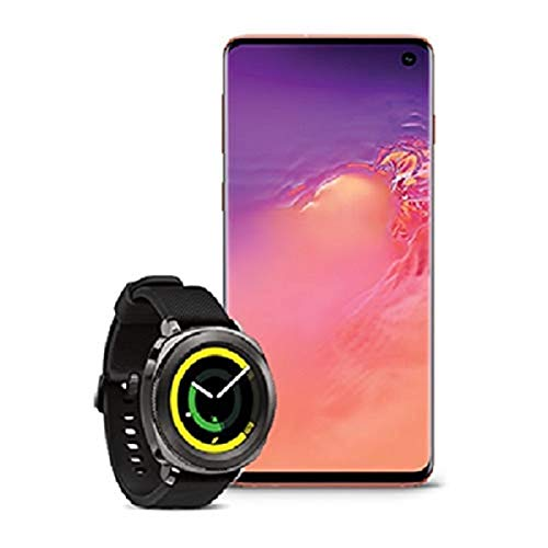 Samsung Galaxy S10 Factory Unlocked Phone with 512GB, Flamingo Pink with Samsung Gear Sport Smartwatch (Bluetooth), Black, SM-R600NZKAXAR