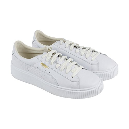 PUMA Women's Basket Platform Core Sneaker - Puma White-Gold (Large Image)