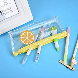 shamoluotuo Pencil Pen Case Bag Pouch Holder Transparent Fruit Pencil Pouch for Middle High School Office College Child Adult Teen Girls Cosmetic Makeup Brush Lipstick Storage, Orange