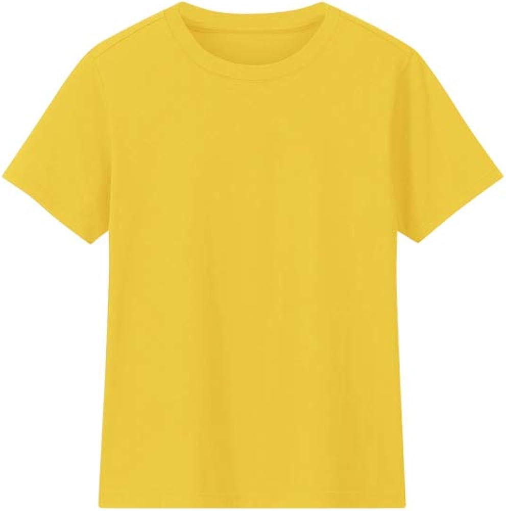 Camiseta Lisa con Cuello Redondo Manga Corta Algodón Unisex para Niños: Amazon.es: Ropa y accesorios