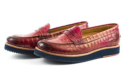MELVIN & HAMILTON Damen Bea 1 Halbschuhe Slipper Rot Pink Kroko Gr. 37