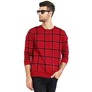 Maniac Men's Checked Fullsleeve Round Neck Red Cotton T-Shirt