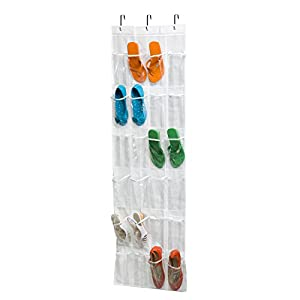 Honey-Can-Do Hanging PEVA 24 Pocket Over the Door Shoe Rack White
