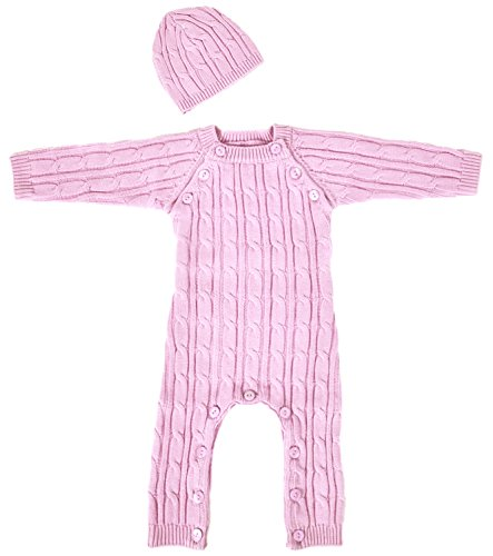 Tadpoles Cable Knit Romper and Hat Set, 3-6 Month, - Sleeping Partners Cable