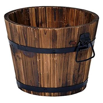 Amazon.com : MGP Genuine Oak Wood Half Wine Barrel Planter, 27