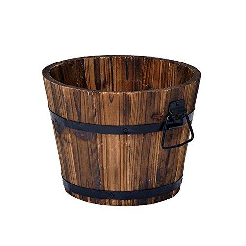 Rustic Wood Whiskey Barrel Planter Box Round Small Wooden Garden Flower Pot
