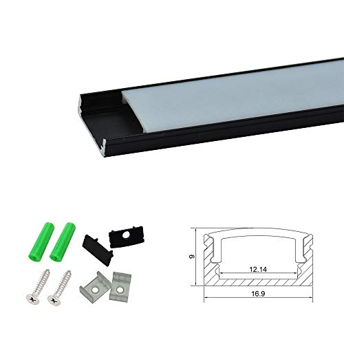 BrightRoom U-Shape Black LED Aluminium Channel 3.3ft/1Meter with End Caps and Mounting Clips for <12.2mm/0.48inch Width LED Strip Light Mounting 5-Pack by BrightRoom (Image #1)