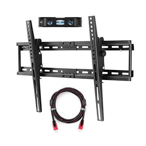 Price comparison product image Suptek TV Wall Bracket Mount for Most of 32-65'' Plasma Flat TV Load Capacity 165lbs 15 Degree Tilt Up Down, Max VESA 600x400 - with HDMI Cable and Magnetic Bubble MT5074