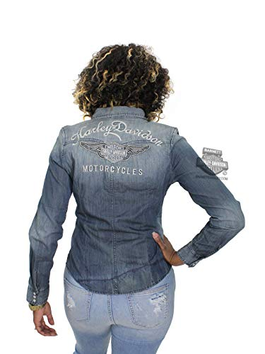 HARLEY-DAVIDSON Womens Genuine Classic Winged B&S Distressed Woven Shirt 99159-17VW (Large) Blue (Harley Davidson Women Shirts)