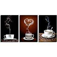 Vakiko En el Murales Pared La Imagen Impresión Taza de café sobre Lienzo Ilustraciones para Regalo de decoración del hogar 3 Piezas(Sin Marco)