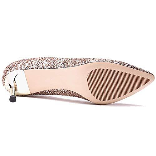 ZPEDY Confortables Femmes Talons Simples Champagne Hauts Sauvages pour élégantes Chaussures Pointues YrwErq