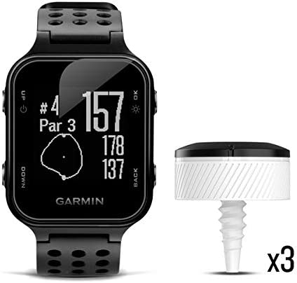 Garmin Approach S20 Bundle, GPS Golf Watch with Step Tracking and Preloaded Courses, Includes Three CT10 Club Trackers, Black