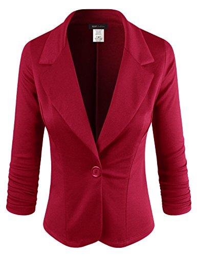 Sport Knit Jacket (ELF FASHION Women Casual Work Knit Office Blazer Jacket Made In USA (Size S~3XL) Red L)