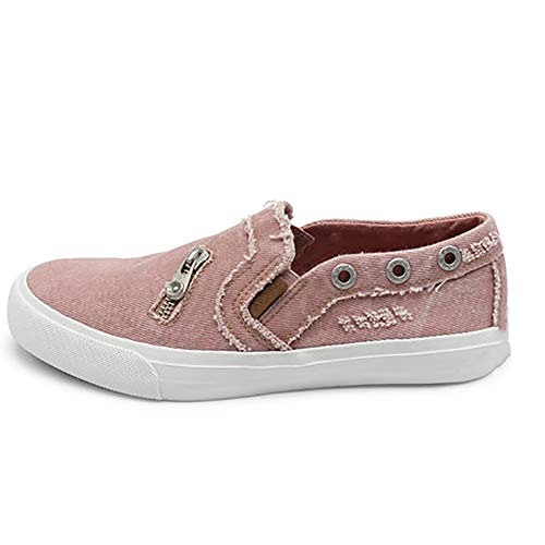 SNIDEL Fashion Canvas Sneakers for Women Casual Loafers Slip on Flats Distressed Boat Walking Shoes Pink 10 B (M) US