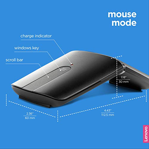 Lenovo Yoga Mouse, Black, Ultra slim 13.5mm, 180 degree rotatable hinge, 2.4G or Bluetooth 4.0 wireless connection…