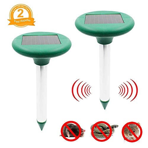 Fomei Ultrasonic Solar-Powered Mole Repellent Professional Mole Repeller Pest Deterrent Repelling Mole, Rodent, Vole, Shrew, Gopher, Snake for Outdoor Lawn Garden Yards Pest Control