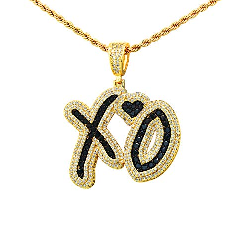 NYFASHION101 Stone Stud XO Heart Pendant with 3mm 24 Cuban Chain Necklace