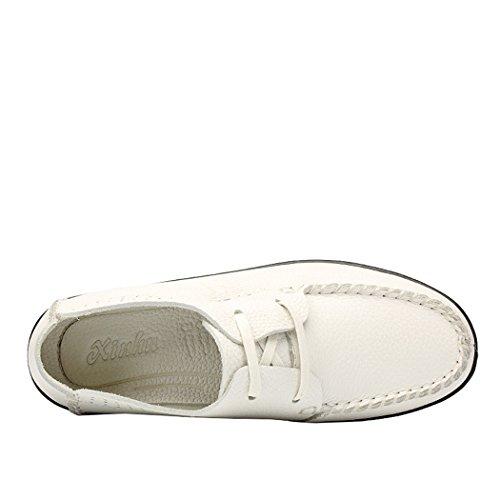 Sol Lorence Kvinnor Mode Lätta Mjuka Andas Manuella Sutur Skor Tillfälliga Läder Spets-up Loafers Vit