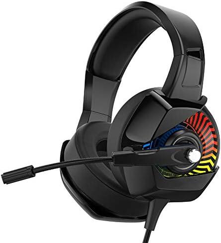 ヘッドマウントゲーミングヘッドセット、360°回転マイクを備えたノイズ低減サラウンドサウンドゲームプレーヤー、有線ヘッドフォンを備えたプロ